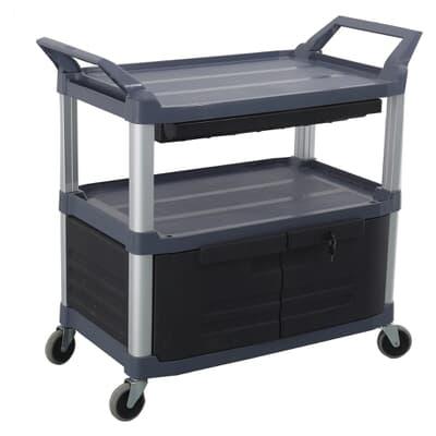 3 Tier Cart with doors, 850L x 470W x 960H, Black