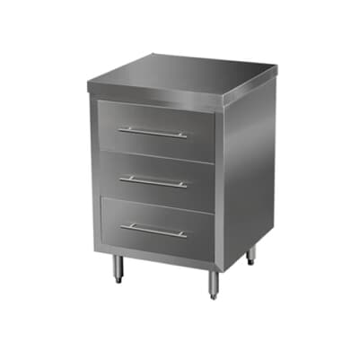 Stainless Steel Drawer Cabinet, 3 Drawer, 600mm L x 610mm W