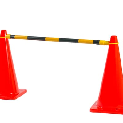 Cone Barrier Bar, 1.3m to 2.5m, yellow/black