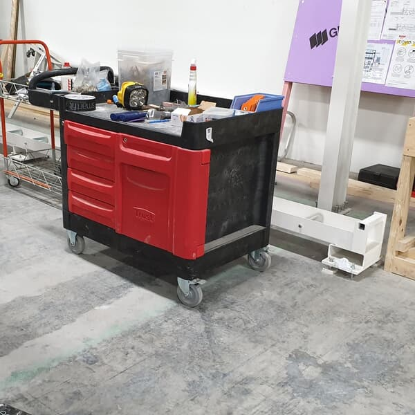 Work Centre Service Trolley in use