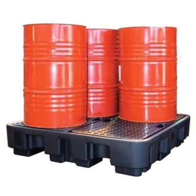 Poly SpillPallet, 4 drum, 305mm H x 1,460mm W x 1,460mm D, 2700kg, 250L