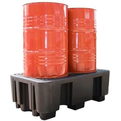 Poly SpillPallet, 2 drum, 1300mm L x 750mm W x 400mm H, 1350kg, 250L