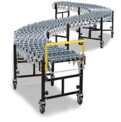 Flexi Conveyor, 460mm wide, 8m long, steel skate wheels