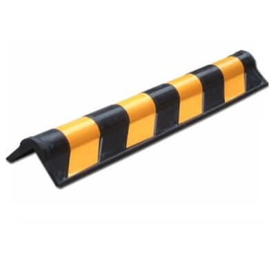 Rubber Corner Guard, 800H x 120W x 20D, black/yellow