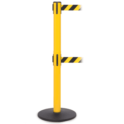 Free-Standing Twin Retractable Belt, 3.9m, yellow pole, black/yellow belts