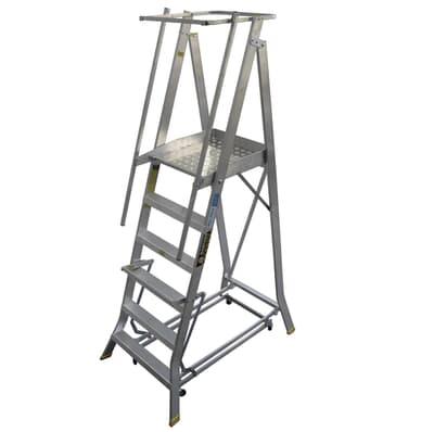 Warthog Order Picking Ladder, Lever Wheel