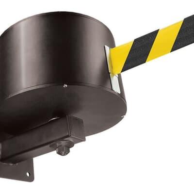 Wall Mounted Retractable Belt, 22.8m, black/yellow belt