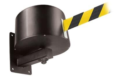 Wall Mounted Retractable Belt, 16.7m, black/yellow belt